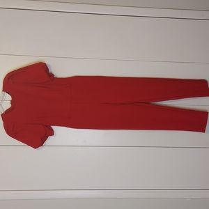 New York & Company Red Puff Sleeved Jumpsuit Size Extra Small